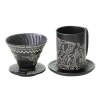Coffee drip filter set. Vietnamese traditional patterns