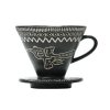 Vietnamese ceramic drip coffee filter, Dong son bronze drum patterns