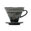 Vietnamese ceramic drip coffee filter, Dong son bronze drum patterns
